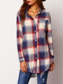 Blue White Lapel Plaid Loose Blouse
