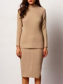 Apricot Turtle Neck Rib Knitwear With Split Skirt