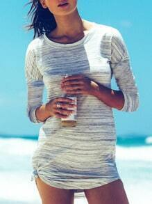 Grey Crew Neck Side Knotted Tshirt Dress