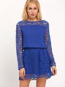 Blue Crew Neck Hollow Out Dress