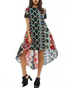 Crew Neck Aztec Print Dip Hem Dress