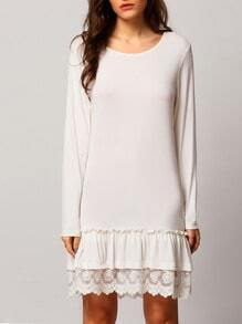 White Crew Neck Lace Embroidered Flounce Dress