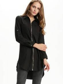 Black Adjustable Sleeve Pockets High Low Dress