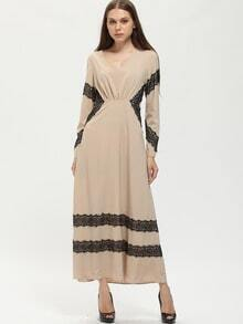Nude Contrast Lace Deep V Neck Maxi Dress