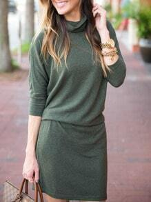Green High Neck Tshirt Dress