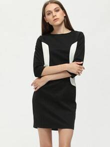 Black Color Block Crew Neck Shift Dress
