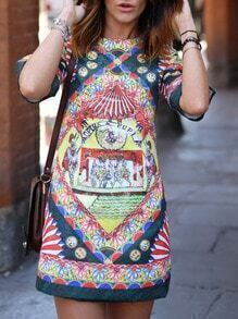 Tribal Print Crew Neck Shift Dress