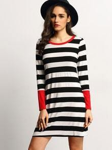 White Striped Contrast Cuff Tshirt Dress