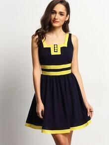 Navy Square Neck Sleeveless Color Blcok Trims Dress