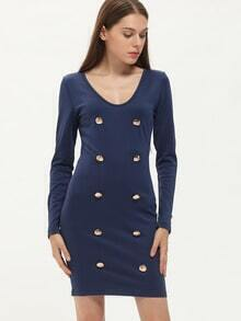 Navy Embellishment Plunge Sheath Dress