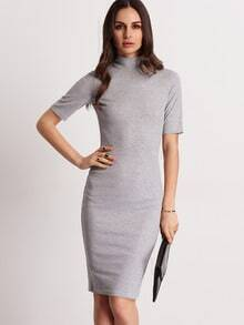 Grey Mock Neck Sheath Dress
