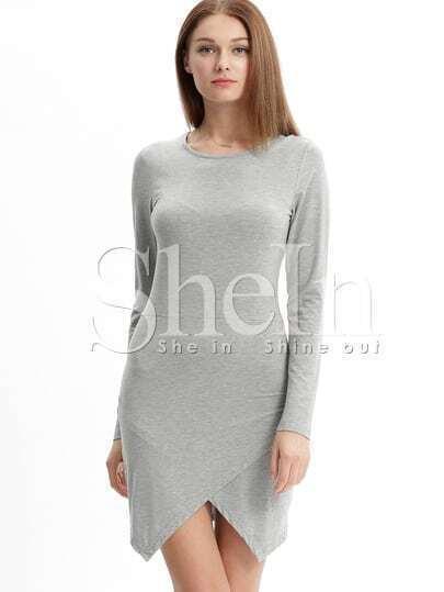 Grey Crew Neck Wrap Front Sheath Dress