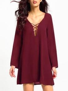 Burgundy Deep V Neck Shift Dress