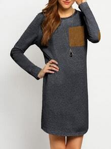 Grey Elbow Patch Straight Dress With Patch Pocket