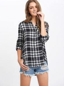 Navy Plaid Side Slit Blouse