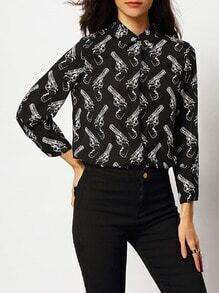 Black Guns Print Boyfriend Blouse