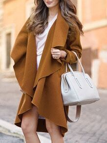 Camel Waterfall Collar Duster Coat