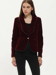 Burgundy Shawl Collar Coat With Contrast Trims