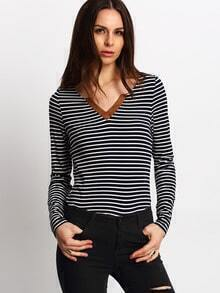 Blue Striped Loose T-Shirt