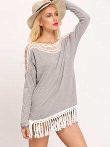 Grey Hollow Out Contrast Fringe Hem T-Shirt