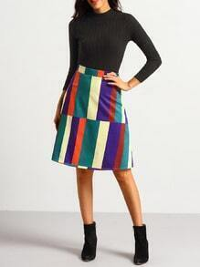 High Waist Patchwork A Line Skirt