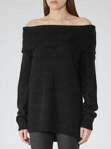 Black Off The Shoulder Loose Sweater