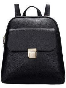 Black Push Lock PU Backpacks