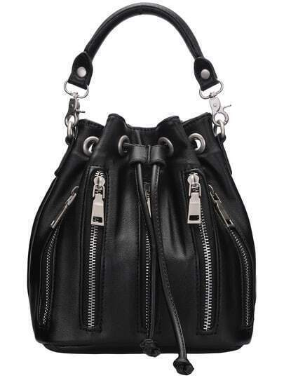 Black Drawstring Zipper Bucket Bag