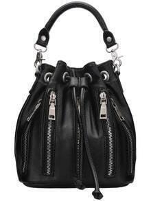 Black Drawstring Zipper Bucket Bag