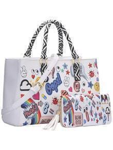 White Funny Print Two Piece Tote Bag
