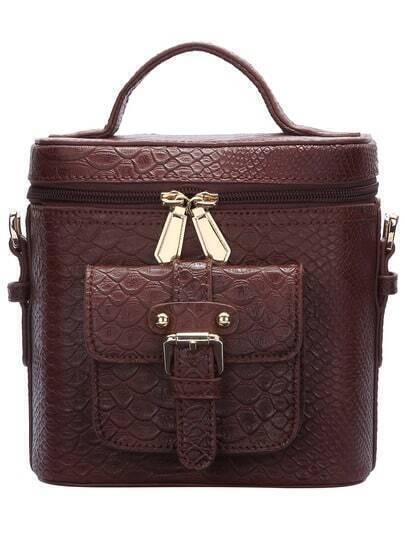Brown Zip Crocodile Tote Bag