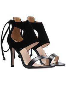 Black Peep-toe High Stiletto Heel Sandals