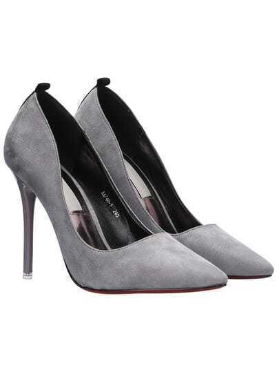 Grey High Stiletto Heel Suede Pumps