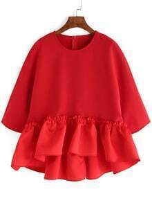 Red Round Neck Ruffle Dip Hem Blouse