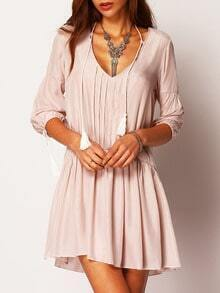 Apricot V Neck Half Sleeve Loose Dress