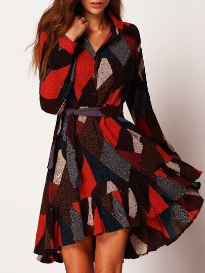 Colour Long Sleeve Tie-Waist Dress
