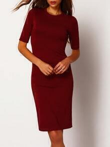 Red Crew Neck Half Sleeve Slim Dress