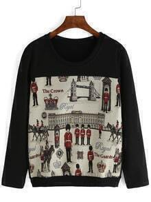 Black Round Neck Soldier Print Sweatshirt