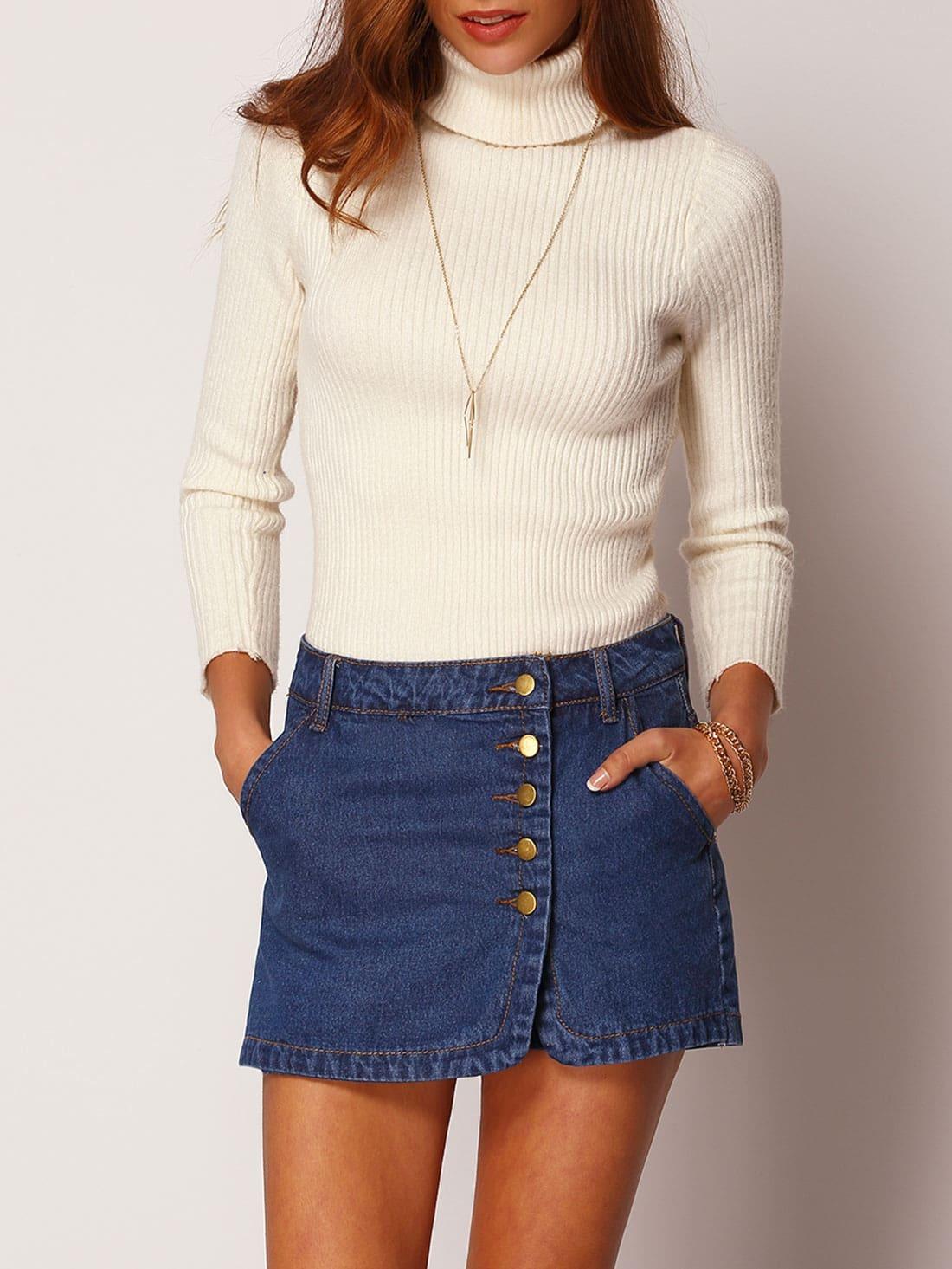 blue single breasted pockets denim shorts sheinsheinside