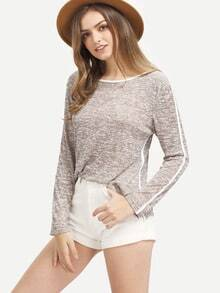 Grey Round Neck Long Sleeve Loose T-Shirt