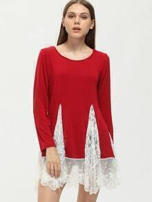 Red Long Sleeve Lace Embellished T-Shirt