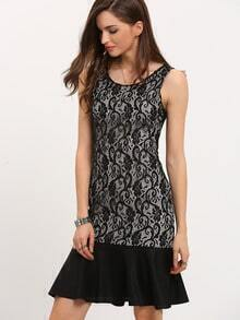 Black Sleeveless Lace Fishtail Dress