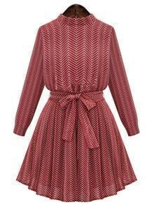 Red Wave Pattern Stand Collar Belted Dress