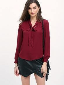 Burgundy Tie-neck Long Sleeve Chiffon Blouse