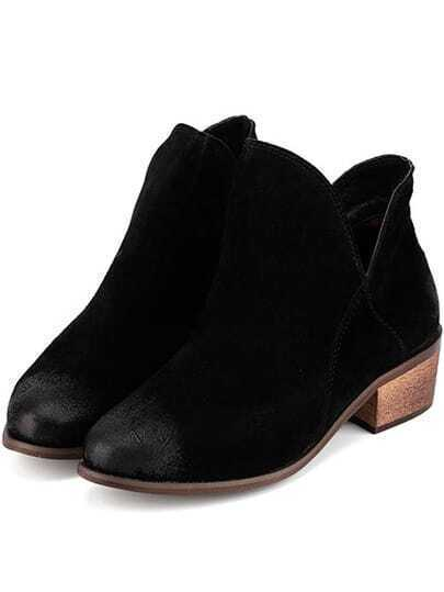 Black Round Toe Chunky Heel Ankle Boots