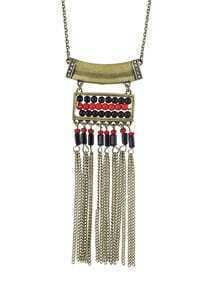 Ethnic Design Antique Gold Plated Long Tassel Beads Infinity Necklace