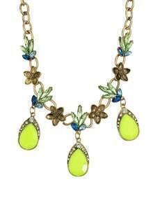 Bohemian Style Beautiful Haning Rhinestone Flower Women Alloy Necklace