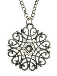 Gunback Plated Alloy and Rhinestone Flower Long Pendant Necklace