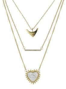Collier multiranges avec pendentif en cœur -blanc