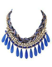 Darkblue Long Beads Statement Bubble Bib Necklace